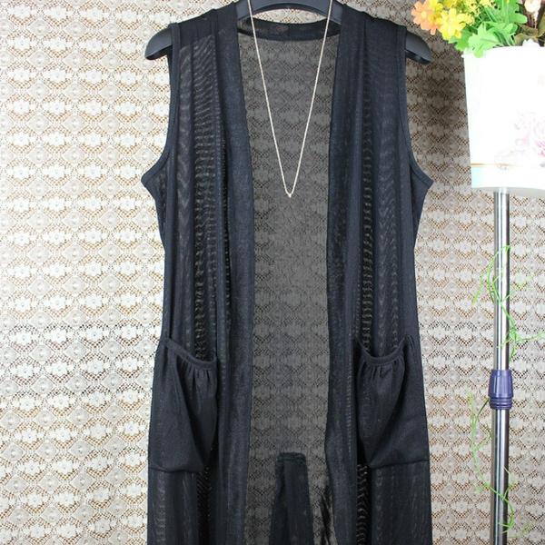 womenmeshcoat, Vest, cardigan, womensleevelesscoat