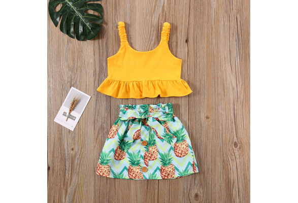 RYGHEWE Summer Clothes for Little Girls 3 Pieces Ruffles High-Waisted T-Shirt Tops with Floral Print Skirt Headband Outfits