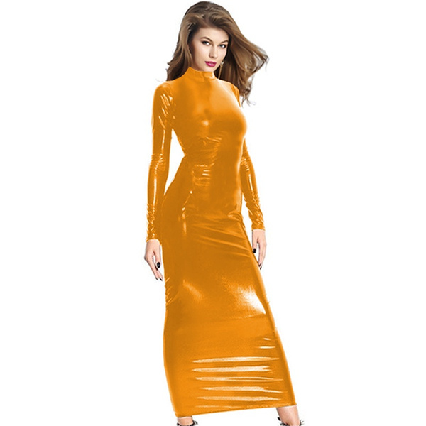 faux leather dress, sexyvestido, simpleclubwear, Long Sleeve