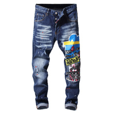 pants, Denim, slim, embroideredjean