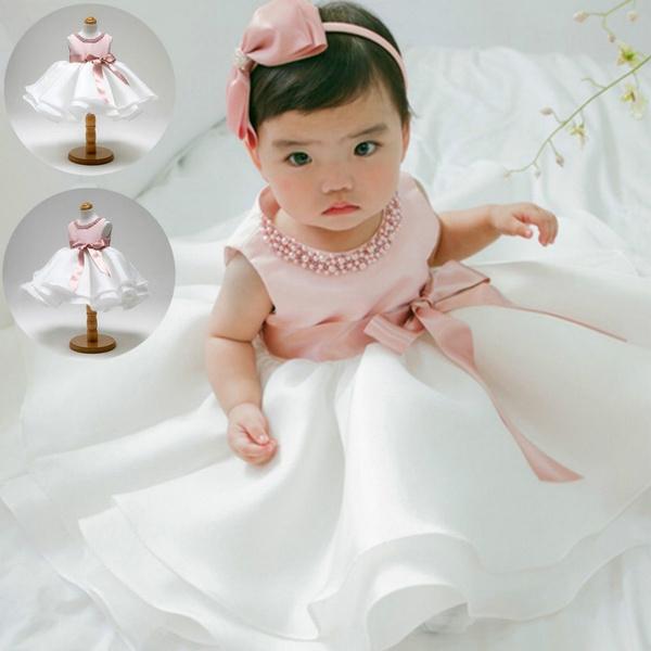 Infant Baby Girls Baptism Christening Flower Dress Birthday Party Tutu Dresses