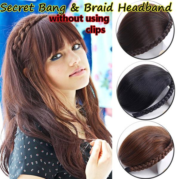 wig, secretbangbraidheadband, Hairpieces, Hair Extensions