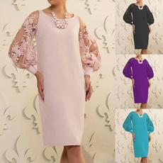 Plus Size, sleeve dress, Lace, Cocktail