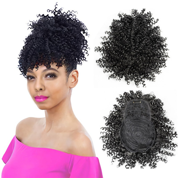 New Style Short Afro Kinky Curly Updos Wig Synthetic Clip In Drawstring Warp Ponytail Hair Extension Tail False Hair Ponytail With Bangs Wish