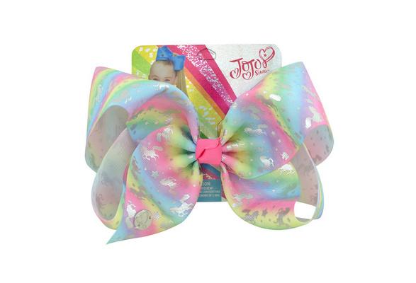 Large 8 Inch Unicorn Pony Bow Rainbow Bowknot Hair Bow Hair Clips For Girl