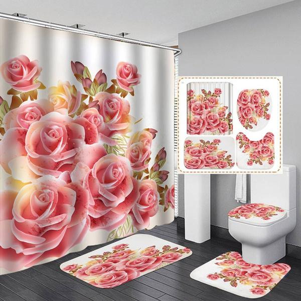Love Pink Rose Shower Curtain BathMat Toilet Cover Rug Lovers Bathroom Decor