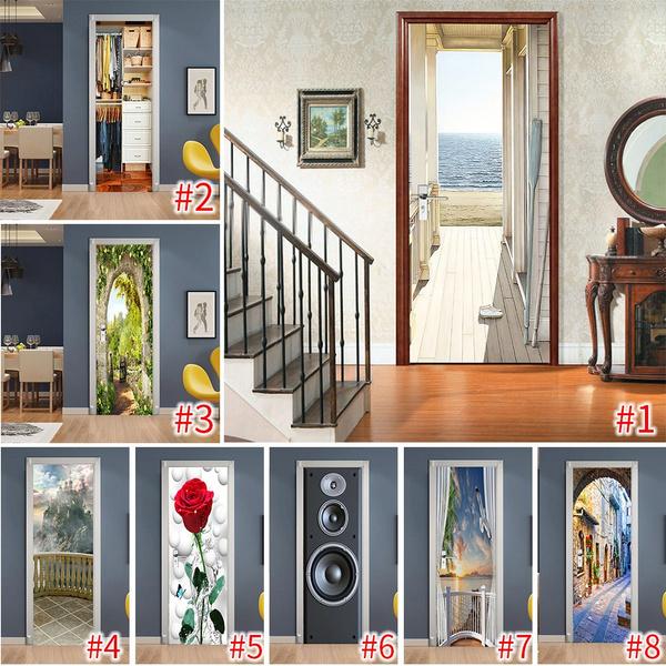 decoration, Bathroom, wallpapersticker, Door