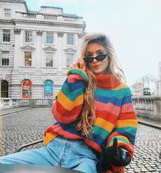 rainbow, Loose, womensteen, Sweaters