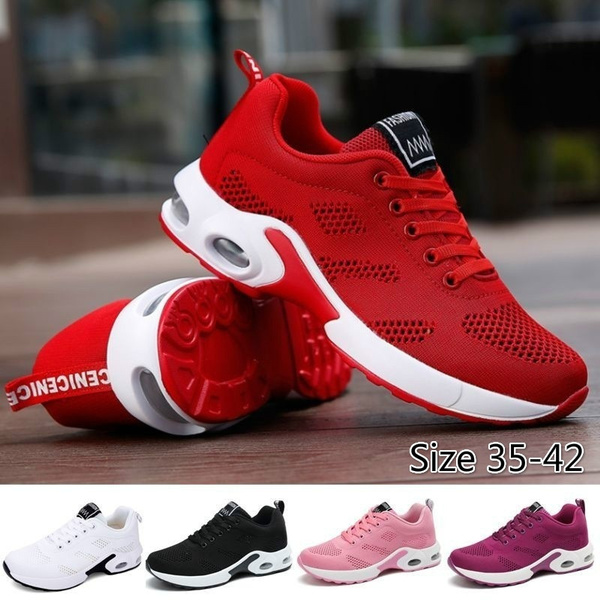 Women Fashion Lightweight Sneakers Running Shoes Outdoor Sports Shoes Breathable Mesh Comfort Running Shoes Air Cushion Lace Up Sneakers Size 35 42 Wish