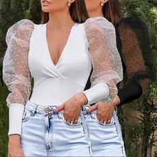 Summer, Fashion, polkadotsleeve, Shirt