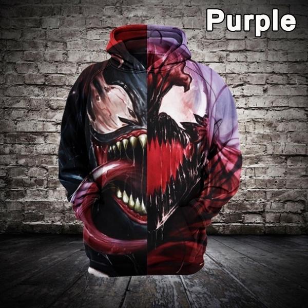3D hoodies, Fashion, pullover hoodie, venomspiderman