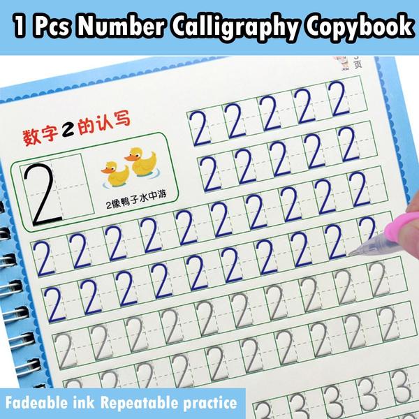 copybookwithgroove, Book, calligraphycopybook, kindergartennumberscopybook