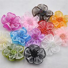 Flowers, Applique, organzaribbon, Bow