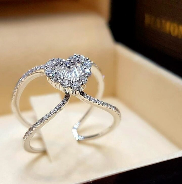 Sterling, Heart, DIAMOND, Jewelry