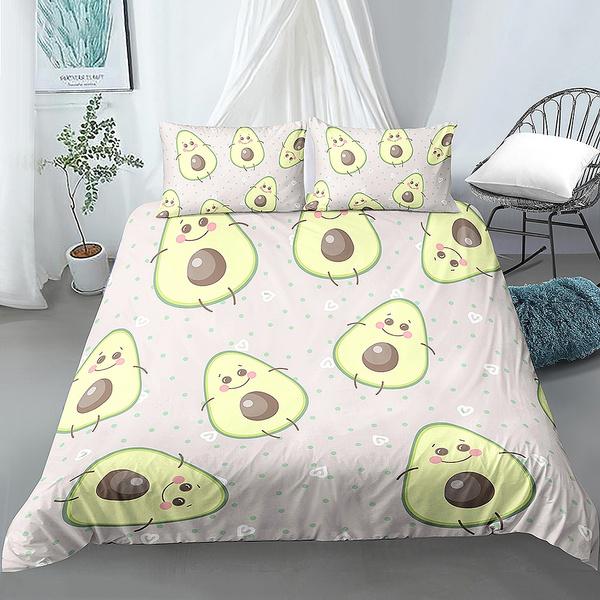 Avocado Cotton Bedding Duvet Quilt Cover Set Pillowcase Single Queen King Size