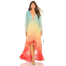 ruffle, Deep V-neck Dress, beachdresse, Dress