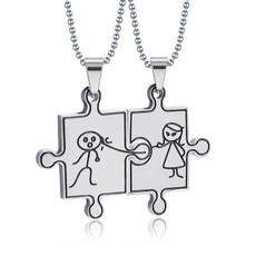 Steel, cartoonpuzzlecouplenecklace, Fashion, Jewelry