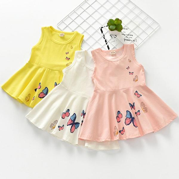 Summer Baby Girls Sleeveless Butterfly Printed Princess Dress Kids