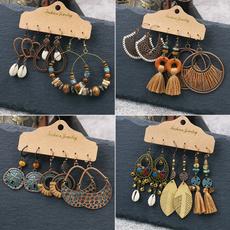 leaves, Tassels, Joyería de pavo reales, vintage earrings