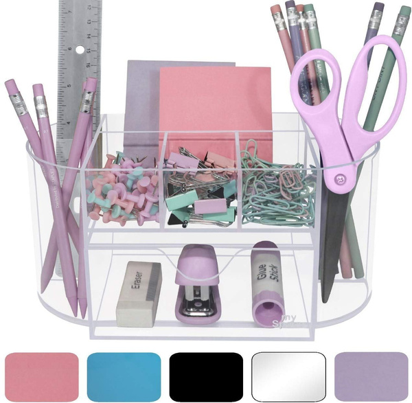Hot Acrylic Desk Organizer For Office, Pink School Desk Organizer