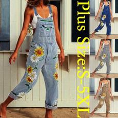 Plus Size, Sunflowers, denim overalls women, Denim