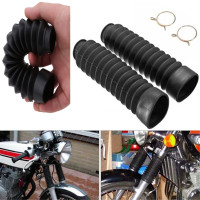 Black 1 Pair Motorcycle Dust Cover Kit Motorcycle Front Fork Cover Gaiters Gators Boots Shock Damping Dust Cover 205x42mm