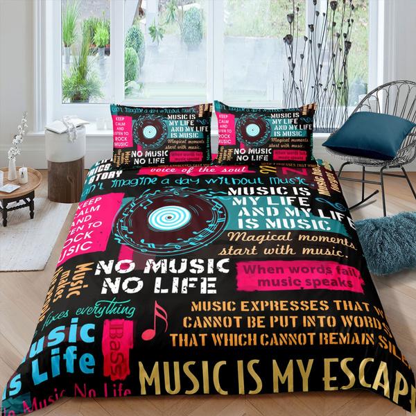 Feelyou Music Note Duvet Cover Set Kids Teens Hip Pop Rock Music Theme Comforter Cover Boys Girls Headphones Radio Bedding Set Stylish Gradient Quilt Cover Bedroom Decor 3Pcs Bedding Queen Colorful