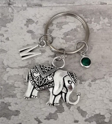 birthstonekeyring, elephantgift, Key Chain, elephantkeyring