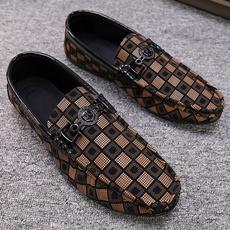 mensloafersshoe, men's flats, plaid, Flats shoes