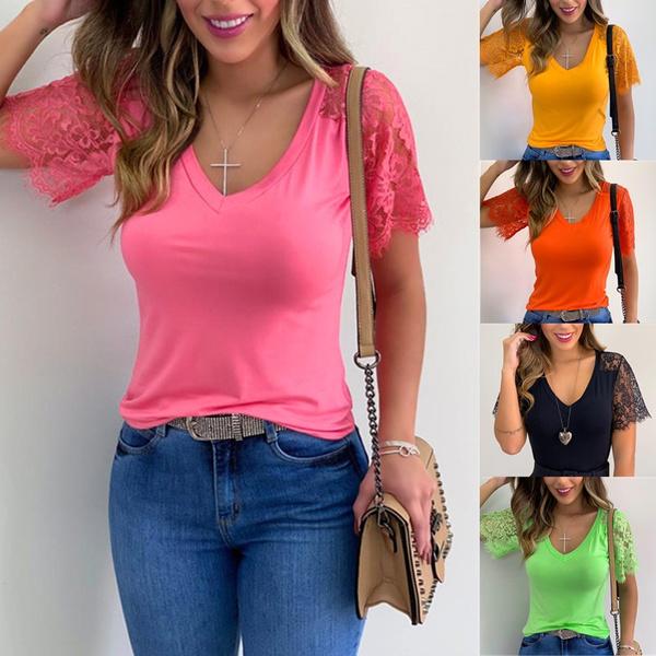 Summer, summer t-shirts, Lace, womens top