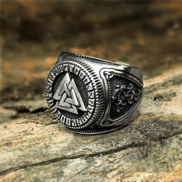 Mens Ring, Steel, Jewelry, retro ring