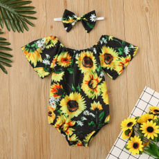 cute, babyromper, Sunflowers, Summer