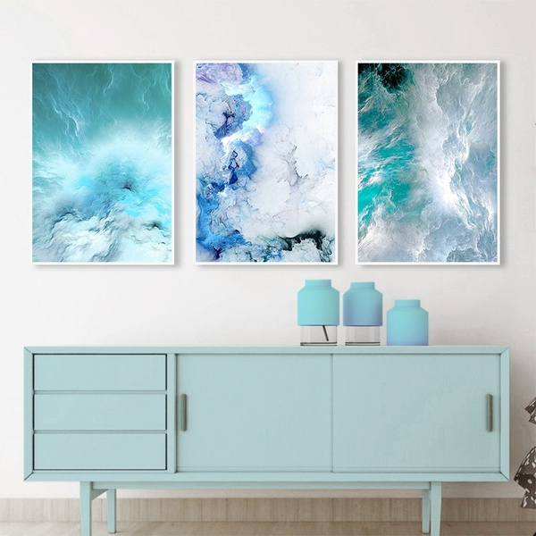 Modern Abstract Canvas Poster Blue Marble Wave Wall Art Painting Nordic Posters and Prints Wall Pictures for Living room-50x70cmx3 No Frame
