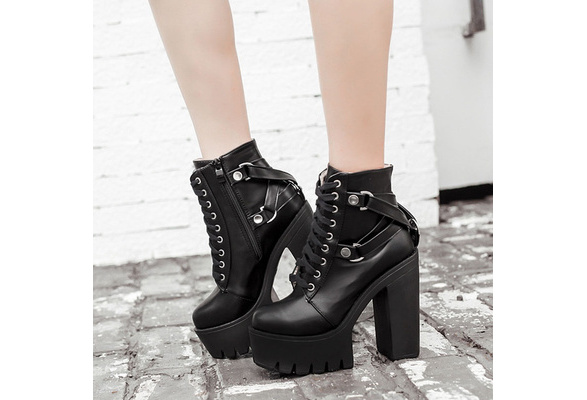 Punk Womens Platform Chunky High Heels Ankle Boots Lace Up Goth Shoes Pumps zhou