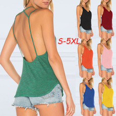 Summer, Plus Size, Tank, Shirt