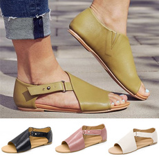 Summer, flatsandal, Ankle Strap, fishmouth