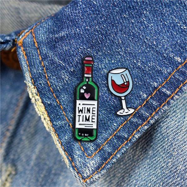 winebottlebrooch, Pins, Gifts, 1pcs