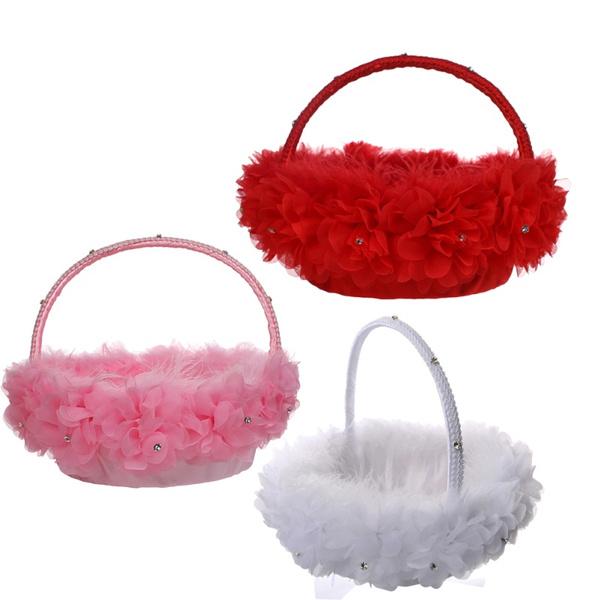 weddingbasket, Lace, weddingdelicatebasket, flowerbasket