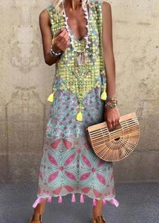 Summer, printeddre, springdre, long dress
