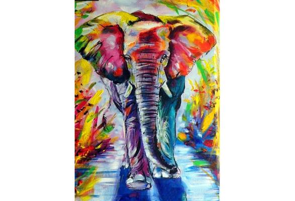 Adidome 25 x 25 cm DIY Elephant-Pattern Rhinestone Painting Home Living Room Decor Cross-Stitch