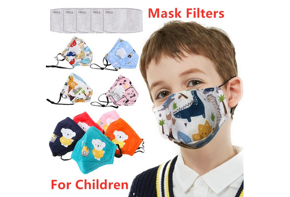 2PC Filters Cartoon Kids Child Washable Reusable Face Protection with Filter and Detachable Eye Shield jinghju 1PC Pack