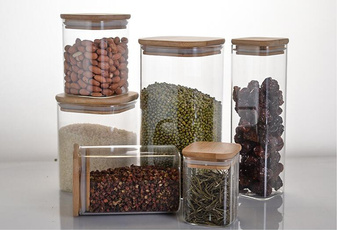 multigrainstoragetanktransparentsealedcan, Storage, portablefoodgrainglasscontainer, glassfoodstoragecontainer