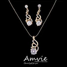 dropdangle, hypoallergenic, Bridal Jewelry Set, Crystal