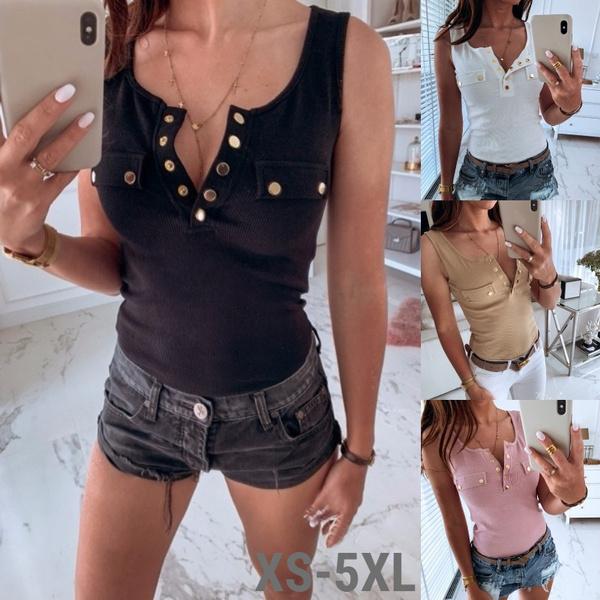 Summer, Vest, Plus Size, buttontop