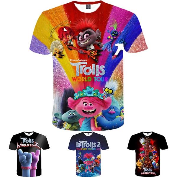childrenstshirt, printed, summer t-shirts, trollsworldtourshirt