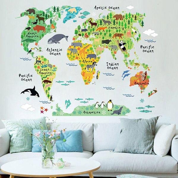 kids, art, worldmap, Home Decoration