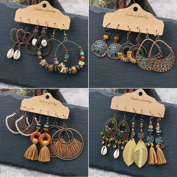 leaves, Tassels, Jewelry, vintage earrings