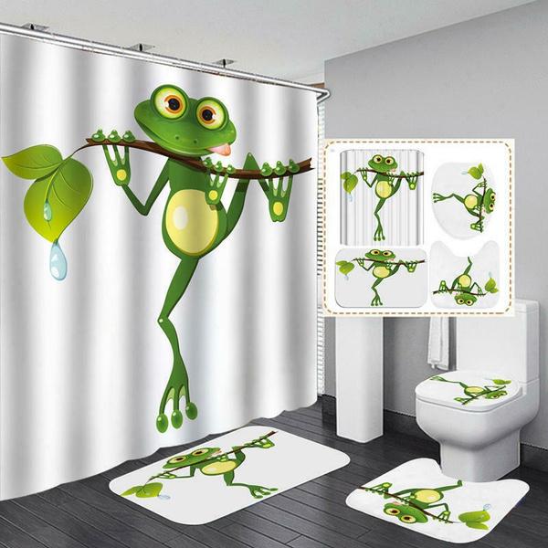 Cartoon Guitar Frog Shower Curtain Bath Mat Toilet Cover Rug Home Bathroom Decor