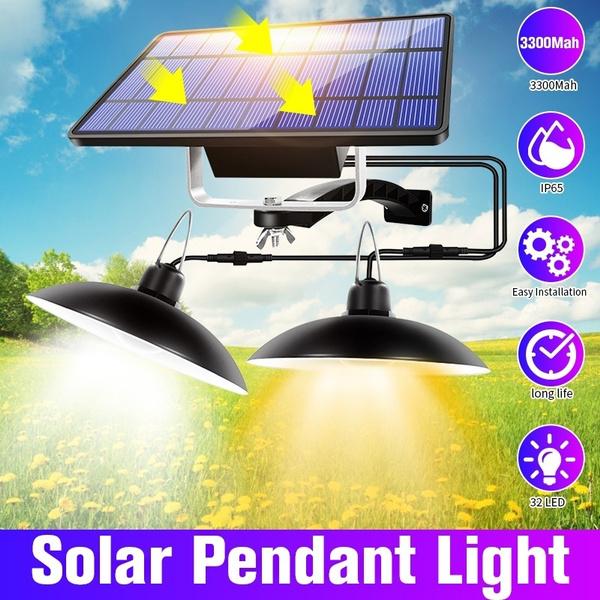Double Head Solar Power Pendant Light Outdoor//Indoor Lights Garden Camping I4W4