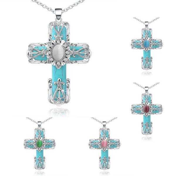 party, Turquoise, Cross necklace, Cross Pendant